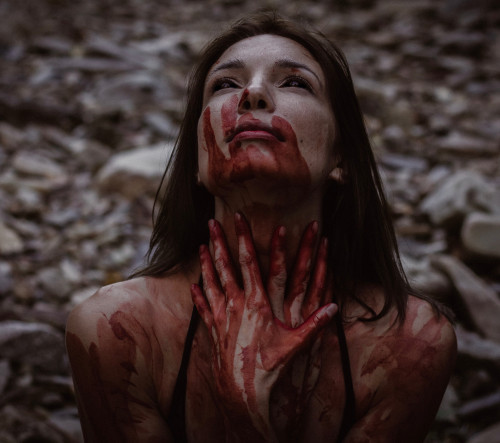 Vampire Lady covered in blood