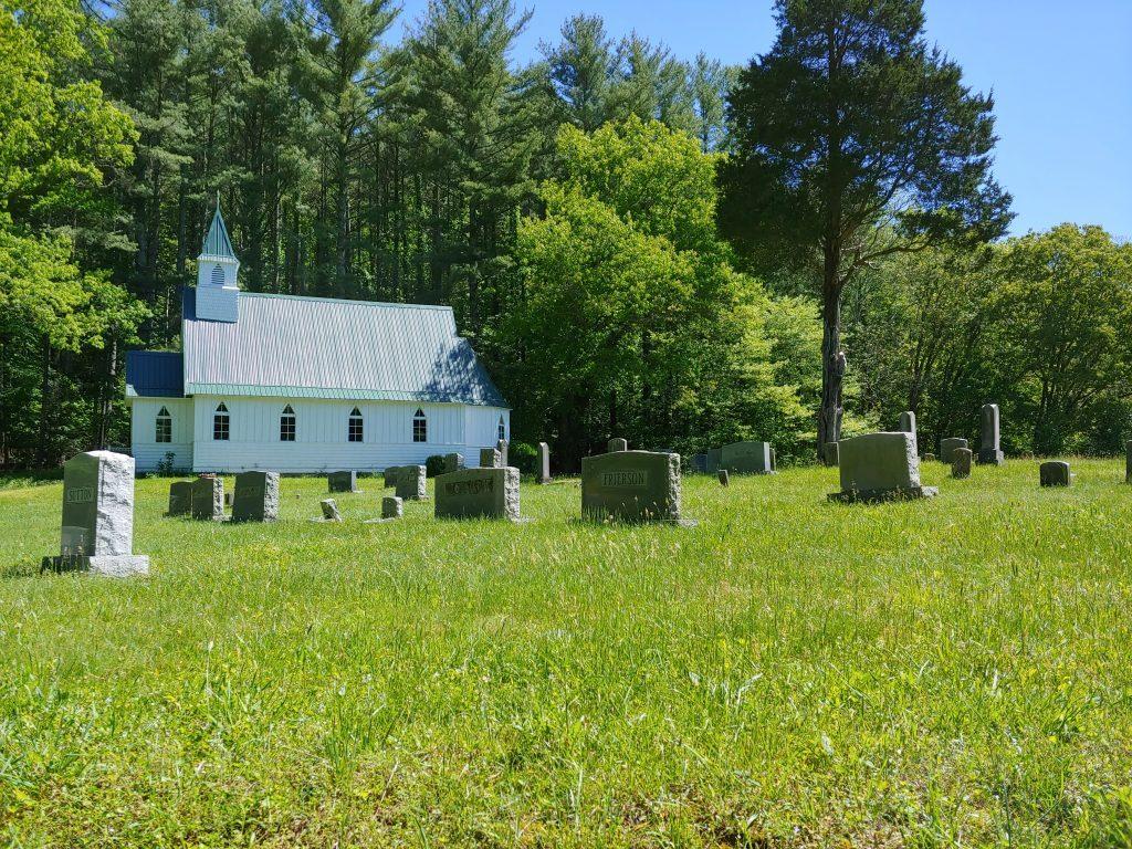 St. John's Episcopal Church and gravestones
