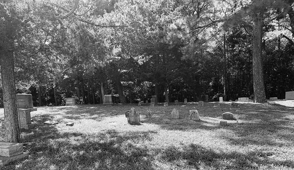 Long Cemetery with gravestones near where catman was buried