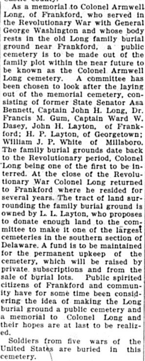 newspaper clipping from Colonel Armwell Long's obituary